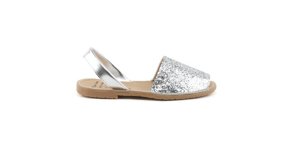 Dámské stříbrné kožené sandály s flitry Daneris