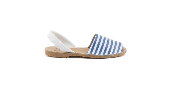 Dámské modro-bílé sandály z kůže Daneris