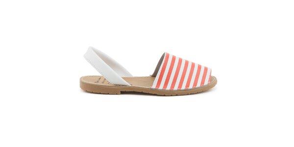 Dámské červeno-bílé sandály z kůže Daneris