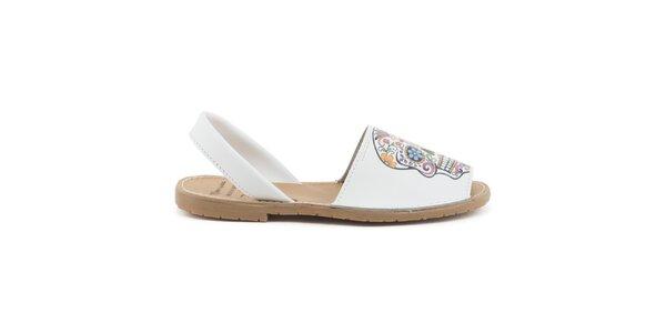 Dámské bílé kožené sandály s barevnou lebkou Daneris