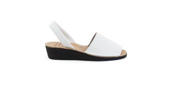 Dámské bílé kožené sandály na klínku Daneris