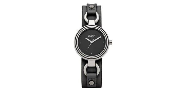 Dámské ocelové hodinky s černým koženým páskem Oasis