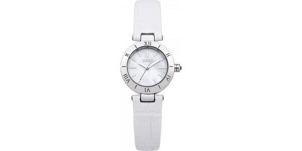 Dámské hodinky s bílým koženým páskem Oasis