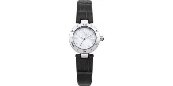 Dámské hodinky s černým koženým páskem Oasis