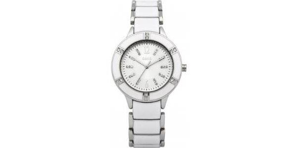 Dámské analogové hodinky s bílým páskem Oasis