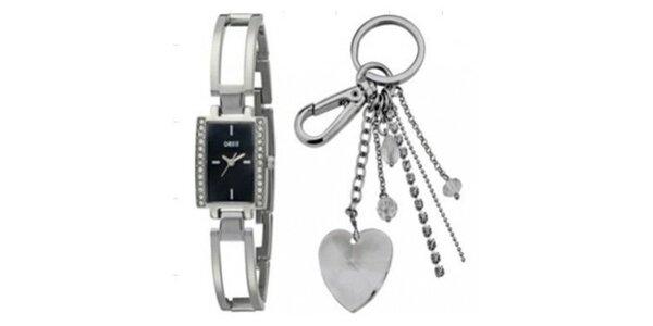 Dámské ocelové hodinky a klíčenka Oasis
