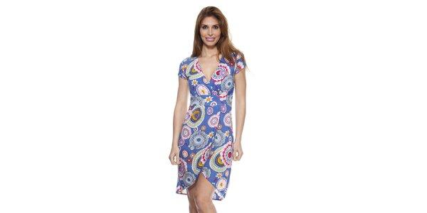 Dámské modré šaty se zavinovacím výstřihem Janis