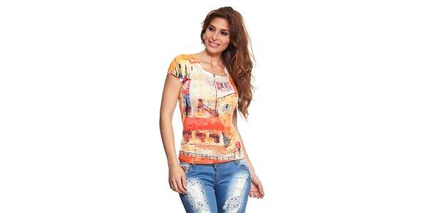 Dámské tričko s oranžovým potiskem Janis