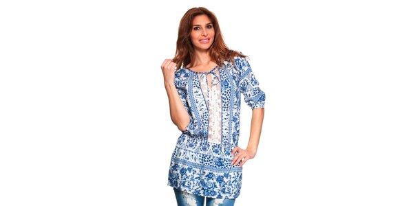 Dámská modro-bílá tunika s krajkovou vsadkou Janis