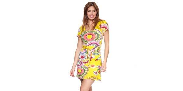 Dámské žluté šaty s potiskem Janis