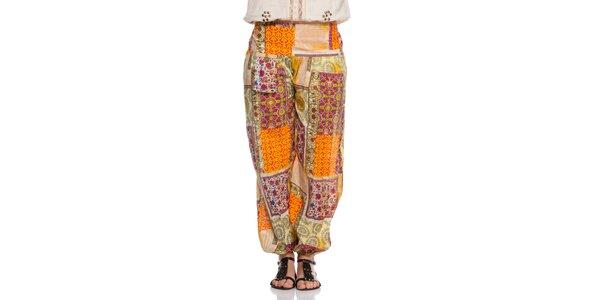 Dámské barevné kalhoty s patchworkovým vzorem Janis