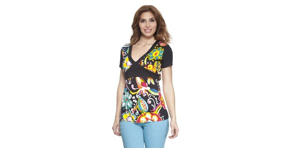 Dámské barevné tričko s véčkovým výstřihem Janis