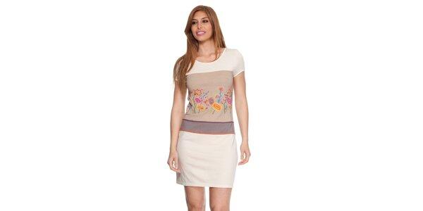 Dámské béžové šaty s květinkami Janis