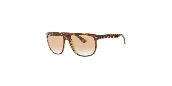 Pánské hnědě žíhané sluneční brýle s gradientním efektem Ray-Ban