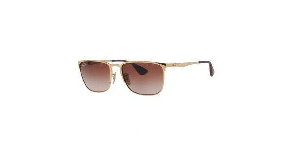 Pánské zlaté sluneční brýle s gradientními skly Ray-Ban