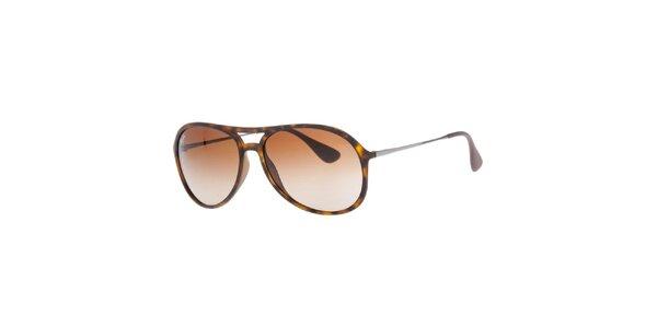 Hnědě žíhané sluneční brýle s pouzdrem Ray-Ban