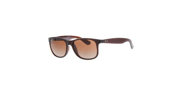 Hnědé oválné sluneční brýle Ray-Ban
