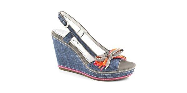 Dámské džínové sandálky na platformě Café Noir