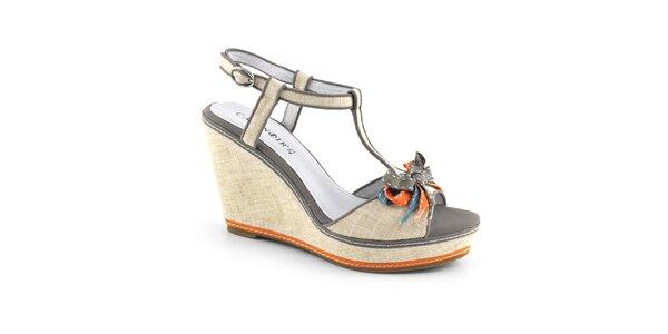 Dámské béžové sandálky na platformě Café Noir
