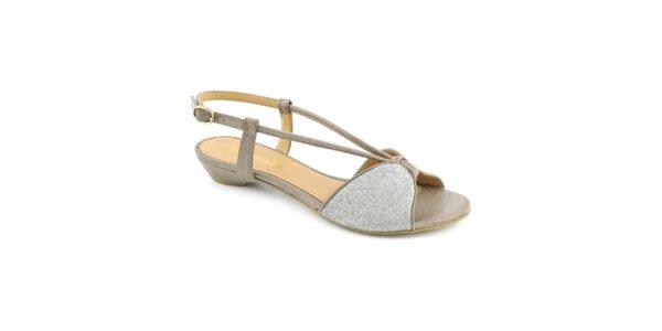 Dámské šedo-stříbrné sandálky Café Noir