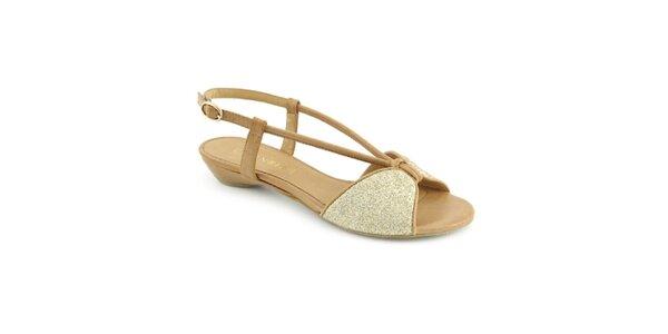 Dámské béžovo-zlaté sandálky Café Noir