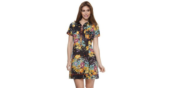 Dámské černé květované šaty s límečkem Janis