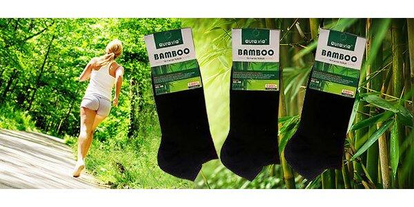 12 párů černých bambusových kotníkových ponožek
