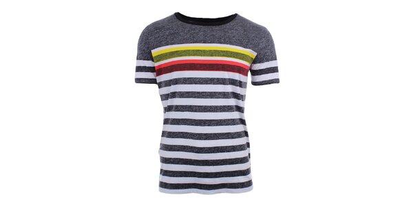 Pánské černo-bíle pruhované tričko Puma
