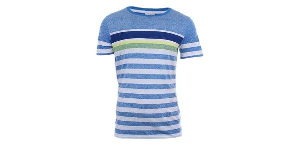 Pánské modro-bíle pruhované tričko Puma