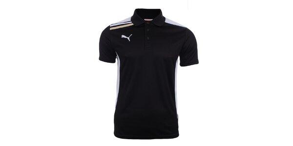 Pánské černé polo tričko s bílými prvky Puma