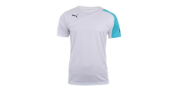 Pánské bílé sportovní tričko s tyrkysovým rukávem Puma