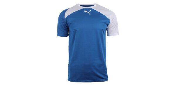 Pánské modré sportovní tričko s bílými detaily Puma