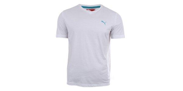 Pánské bílé tričko s véčkovým výstřihem Puma