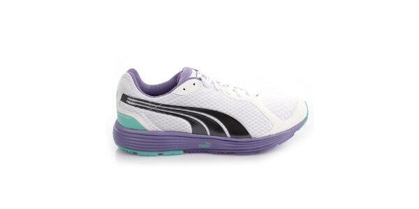 Dámské bílo-fialové sportovní tenisky s barevnými detaily Puma