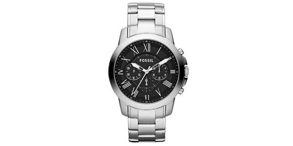 Pánské stříbrné hodinky s černým ciferníkem Fossil