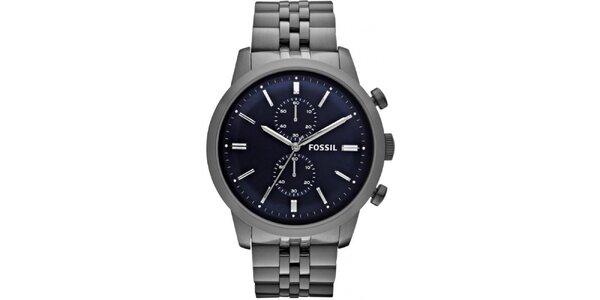Pánské hodinky s modrým ciferníkem Fossil