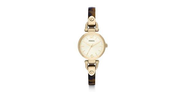 Dámské zlaté hodinky s hnědým řemínkem Fossil