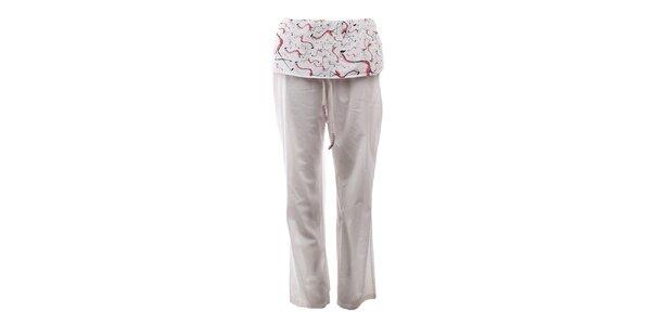 Dámské krémově bílé kalhoty s volánem s plameňáky The Bees