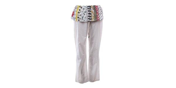 Dámské krémově bílé kalhoty s barevným volánem The Bees