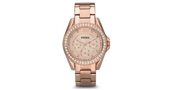 Dámské pozlacené hodinky se zirkony Fossil