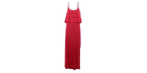 Dámské červené dlouhé šaty na ramínka The Bees