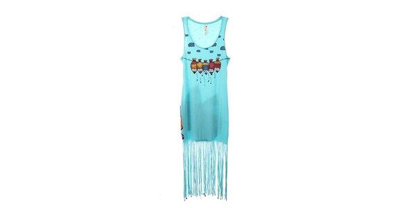 Dámské světle modré šaty s třásněmi The Bees