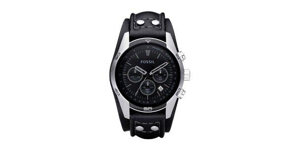 Pánské ocelové hodinky s černým koženým páskem Fossil
