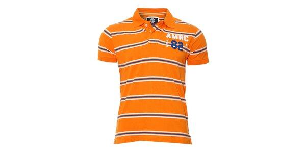Pánské oranžové polo triko Deeluxe