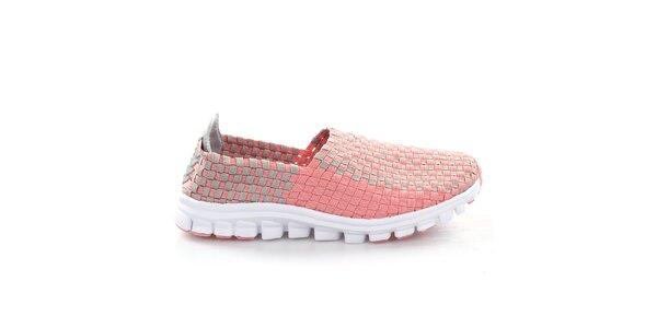 Dámské růžovo-šedé proplétané boty So Real