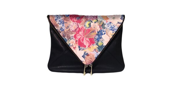 Dámská černá taška s růžovou květinovou klopou The Style London
