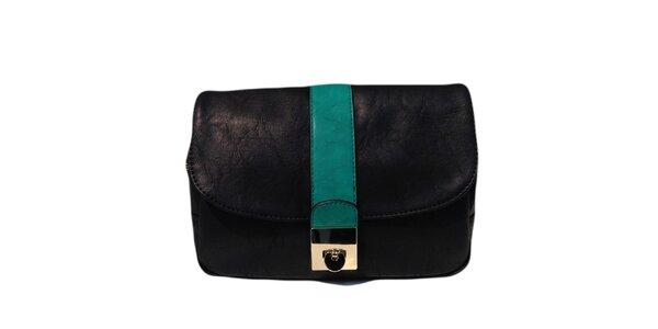Dámská černá kabelka se zeleným pruhem The Style London