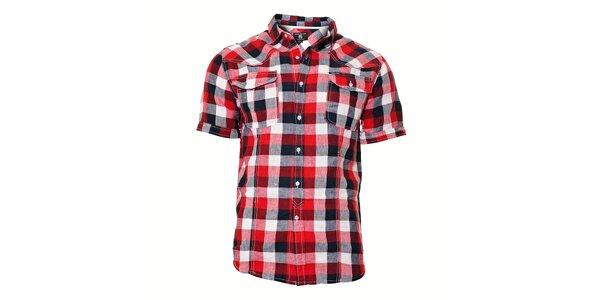 Ležérní pánská kostkovaná košile v červené barvě Deeluxe