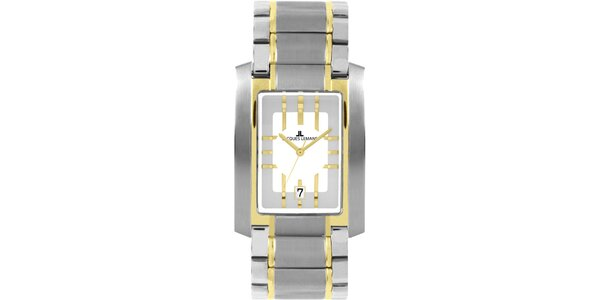 Pánské elegantní ocelové hodinky se zlatým proužkem Jacques Lemans