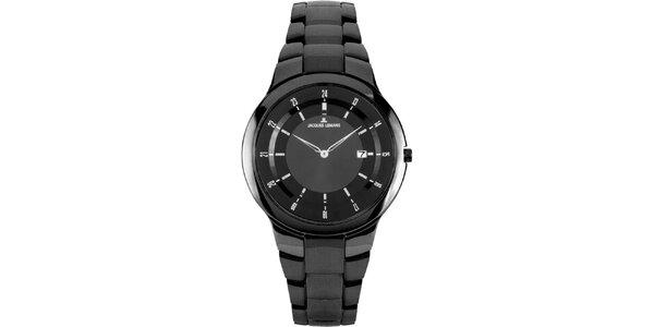 Dámské černé kulaté hodinky z oceli Jacques Lemans
